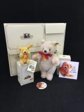 STEIFF ITEMS INCLUDING SMALL GOLD TEDDY BEAR, WHITE MOHAIR ORIGINAL BEAR AND 4 EMPTY BOXES