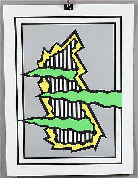 NICHOLAS KRUSHENICK (1929-1999) SILK SCREEN POP ART, GREEN, YELLOW, BLACK, IMAGE SIZE 25