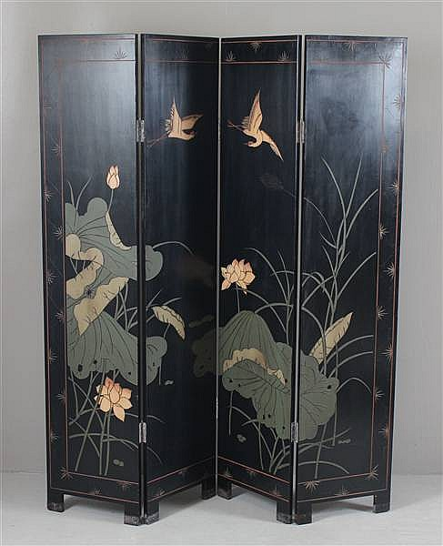 ASIAN EBONY FINISH FOUR PART FOLDING SCREEN