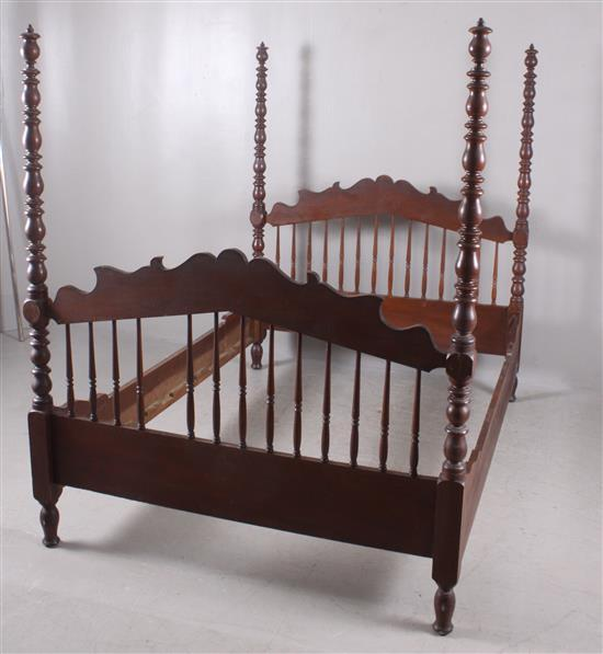 walnut victorian full size tall poster bed with spindle back