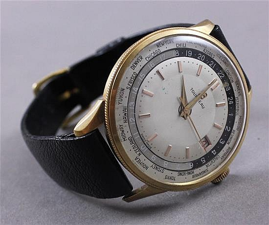 tourneau breitling mens with multi city and leath