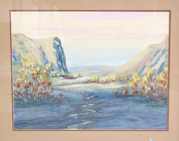 DEAN CLOSE (1905 - * COLUMBUS, OHIO) WATERCOLOR, GOUACHE LANDSCAPE WITH FARM IN VALLEY, SIGNED AND DATED 1985, 18