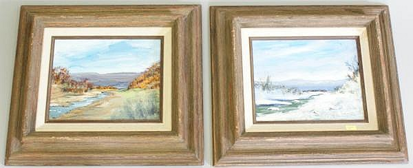 (2) DEAN CLOSE (1905 - * COLUMBUS, OHIO) OIL ON BOARD, LANDSCAPES MOUNTAIN STREAM IN FALL AND WINTER, ONLY ONE SIGNED, BOTH 8