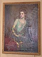 R. HINTON PERRY (1870-1914 NEW YORK) OIL ON CANVAS, LARGE PORTRAIT YOUNG WOMAN IN GREEN DRESS, SIGNED  &  DATED 1927, 38