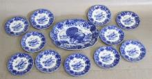 RIDGWAYS ENGLISH FLOW BLUE IRONSTONE TURKEY SET, PLATTER AND (12) PLATES