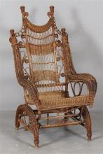 FANCY VICTORIAN WICKER PLATFORM ROCKER - 48