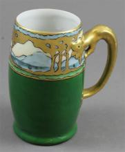ART NOVEAU HAND PAINTED CHINA MUG WITH DRAGON HANDLE MARKED LIMOGES FRANCE