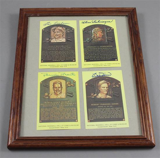 4 NATIONAL BASEBALL HALL OF FAME COLLECTOR CARDS INCLUDING BOUDREAU, GEHRINGER, DOERR, AND ROBERTS -