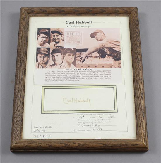 AMERICAN SPORTS COLLECTIBLES CARL HUBBELL AUTOGRAPH WITH BIO