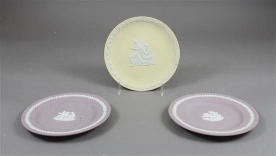 3 WEDGWOOD JASPERWARE PLATES, LAVENDER AND YELLOW WITH CLASSICAL FIGURES - 6
