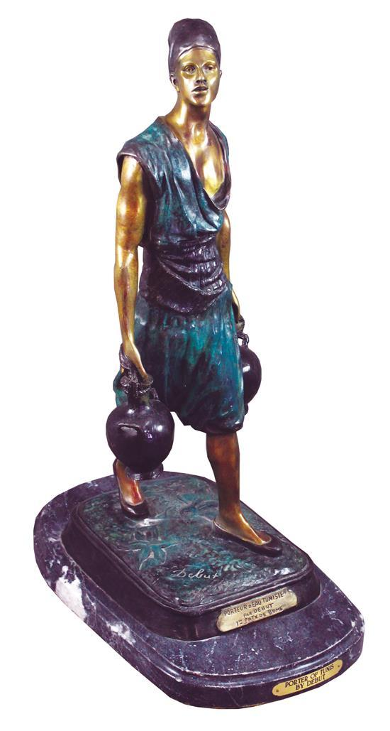 BRONZE STATUE ON MARBLE BASE