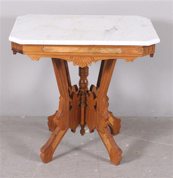 Walnut Eastlake Victorian Parlor Table With White Marble Top