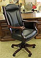 BUCKEYE ROCKER BLACK LEATHER OPEN ARM EXECUTIVE CHAIR
