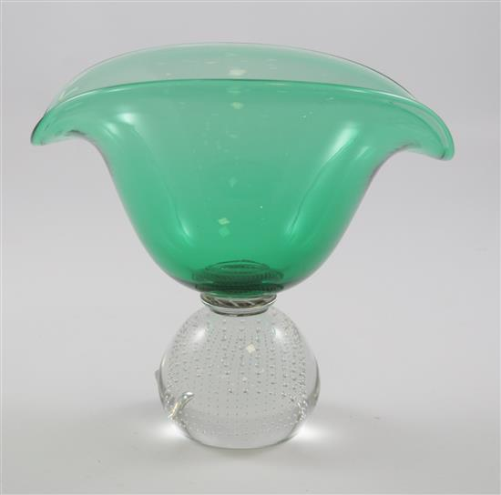 ERICKSON GLASS EMERALD BANANA SHAPED CONSOLE BOWL ON CONTROLLED BUBBLE BASE, 9