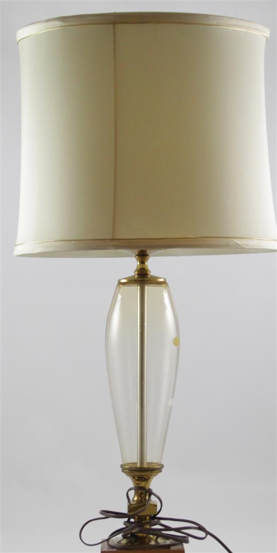 ERICKSON SUNLIGHT YELLOW GLASS LAMP ON BRASS AND WOOD BASE, 31