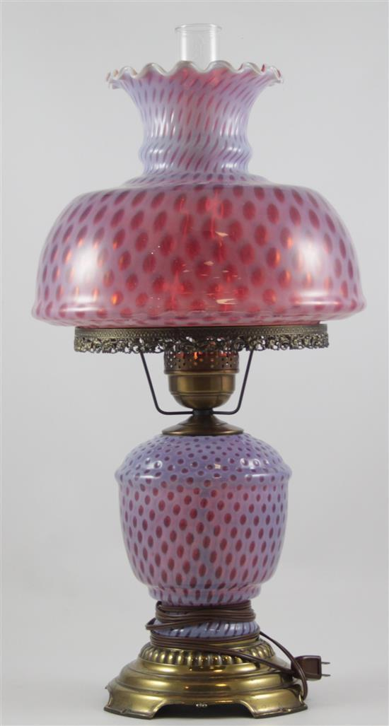 FENTON CRANBERRY DOT TABLE LAMP, 27