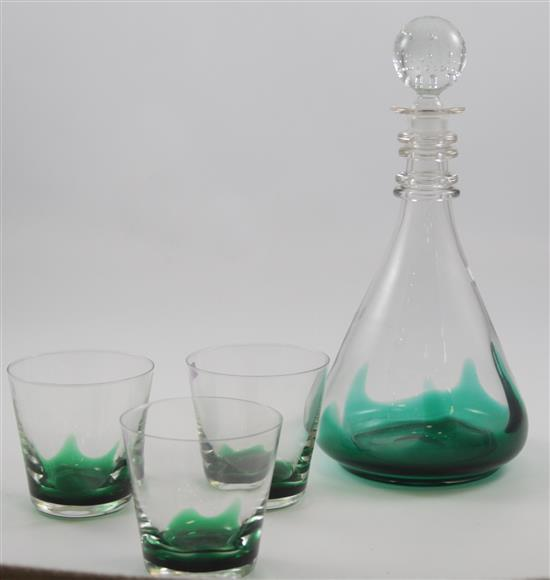 4 ERICKSON GLASS EMERALD FLAME PIECES - DECANTER AND 3 OLD FASHIONS