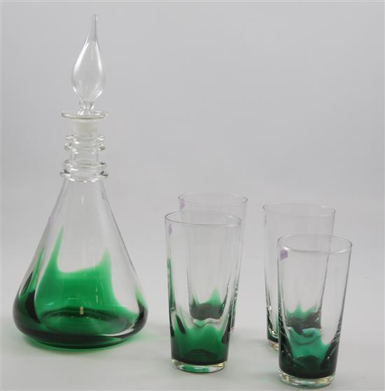 5 ERICKSON EMERALD FLAME PIECES - DECANTER , (3) 10 OZ TUMBLERS, (8) OZ TUMBLER