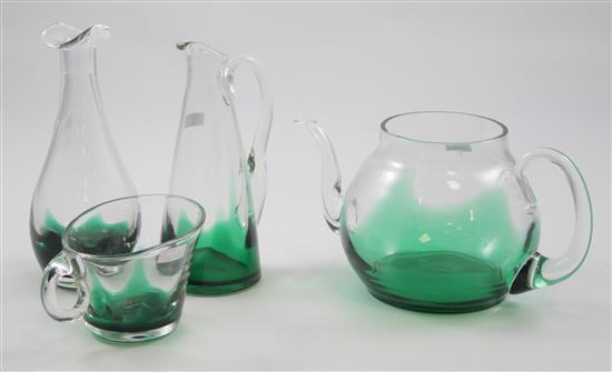 4 ERICKSON GLASS EMERALD FLAME PIECES - COCKTAIL PITCHER, CRUET (NO STOPPER), PITCHER, CREAMER