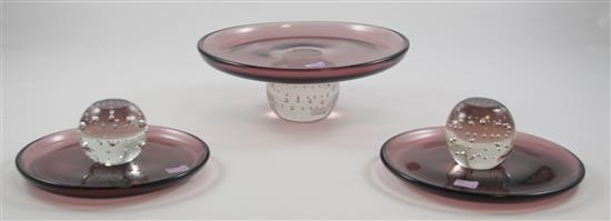 3 ERICKSON GLASS AMETHYST COMPOTES WITH CRYSTAL BALL FEET OR MIDDLE, 3 - 3.5