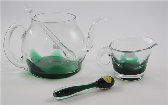 4 ERICKSON GLASS PIECES - EMERALD FLAME COCKTAIL PITCHER, 5