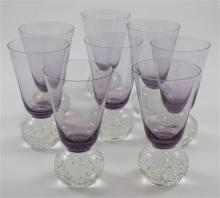 8 ERICKSON GLASS AMETHYST TUMBLERS WITH CONTROLLED BUBBLE BALL BASES, 5  7/8