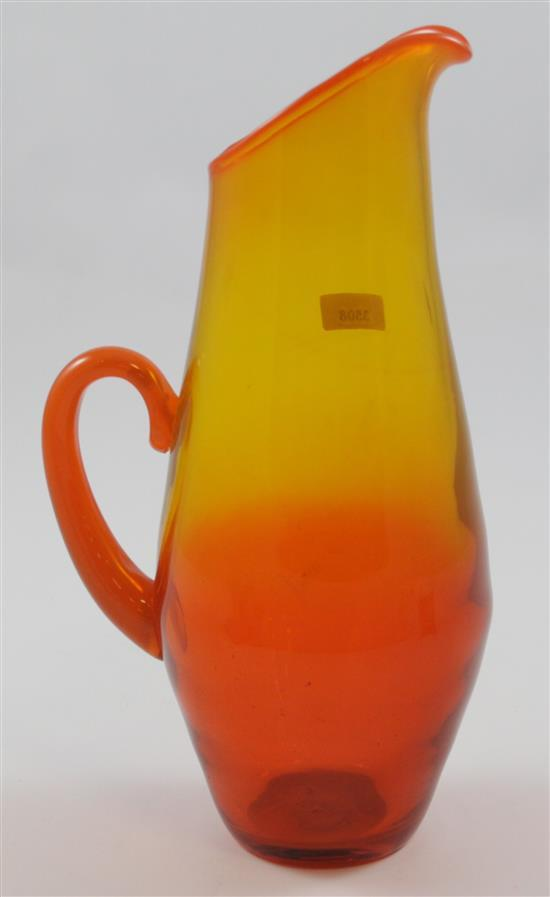 ERICKSON GLASS FIRE PITCHER, 9.5