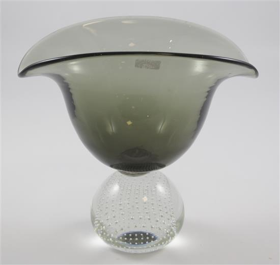ERICKSON GLASS BANANA SHAPED CHARCOAL CONSOLE BOWL ON CONTROLLED BUBBLE BALL, 9