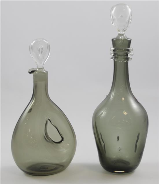 2 ERICKSON GLASS SMOKE PINCHED DECANTERS WITH PINCHED STOPPERS - 15