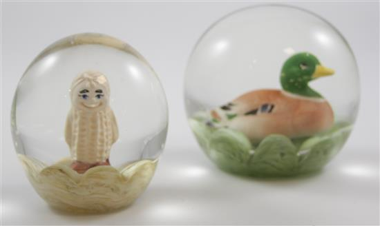 2 MAUDE AND BOB ST CLAIR PAPERWEIGHTS WITH SULPHIDE FIGURES INCLUDING DUCK AND PEANUT, 3.5