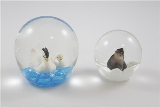 2 MAUDE AND BOB ST CLAIR PAPERWEIGHTS WITH SULPHIDE FIGURES INCLUDING BEAR AND SWANS, 3.5
