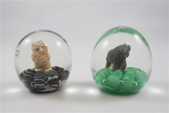 2 JOE RICE PAPERWEIGHTS WITH SULPHIDE FIGURES INCLUDING OWL AND ELEPHANT, 3.5