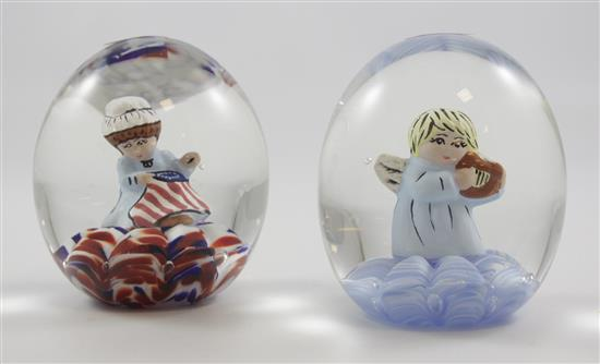2 JOE RICE PAPERWEIGHTS WITH SULPHIDE FIGURES INCLUDING BETSY ROSS AND ANGEL, 3.5