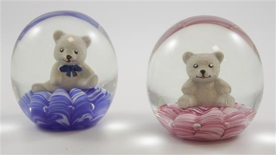 2 JOE RICE PAPERWEIGHTS WITH SULPHIDE BEAR FIGURES, 3.5