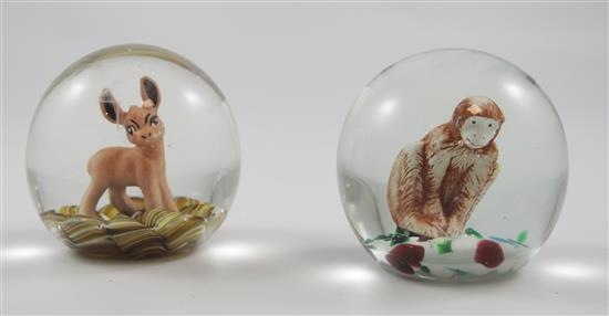 2 JOE ST CLAIR PAPERWEIGHTS WITH SULPHIDE FIGURES INCLUDING FAWN AND MONKEY, 4