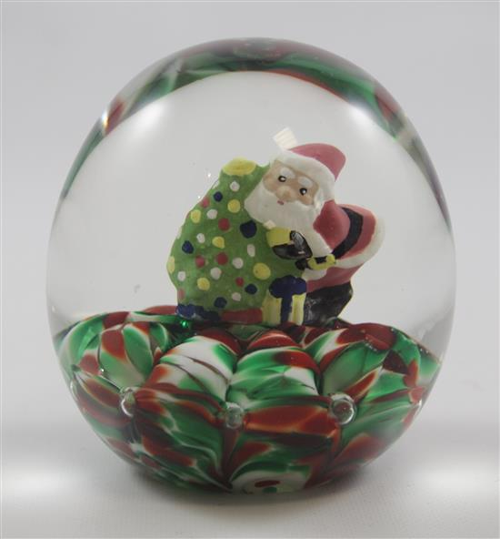 JOE RICE PAPERWEIGHT WITH SULPHIDE SANTA, 3.5
