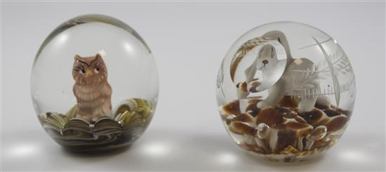 2 JOE ST CLAIR PAPERWEIGHTS WITH SULPHIDE FIGURES INCLUDING DOG AND OWL, 3.5