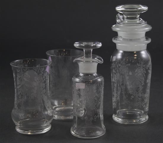 4 PIECES HEISEY ORCHID ETCH INCLUDING COBEL 1 PT COCKTAIL SHAKER, FRENCH DRESSING BOTTLE, 2 DONNA TUMBLERS