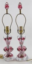 PAIR GIBSON TABLE LAMPS WITH RUBY TRUMPET FLOWERS, 21.5