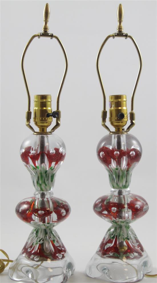 PAIR GIBSON TABLE LAMPS WITH RED TRUMPET FLOWERS, 20