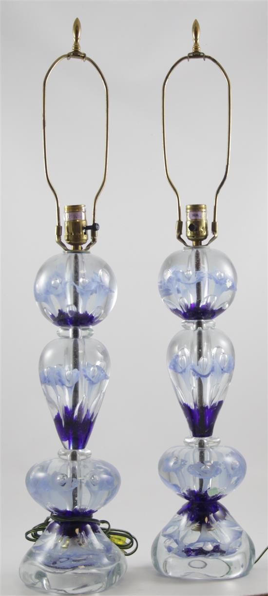 PAIR GIBSON TABLE LAMPS WITH COBALT AND PERIWINKLE TRUMPET FLOWERS, 33