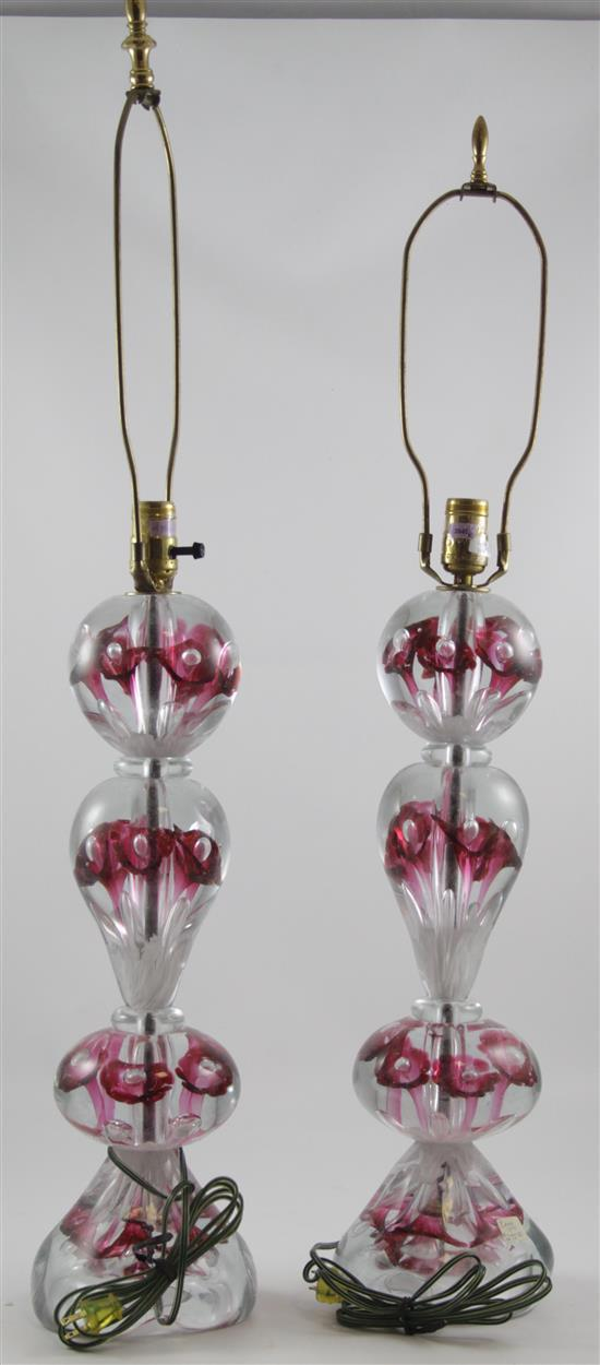 PAIR GIBSON TABLE LAMPS WITH CRANBERRY TRUMPET FLOWERS, 34.5