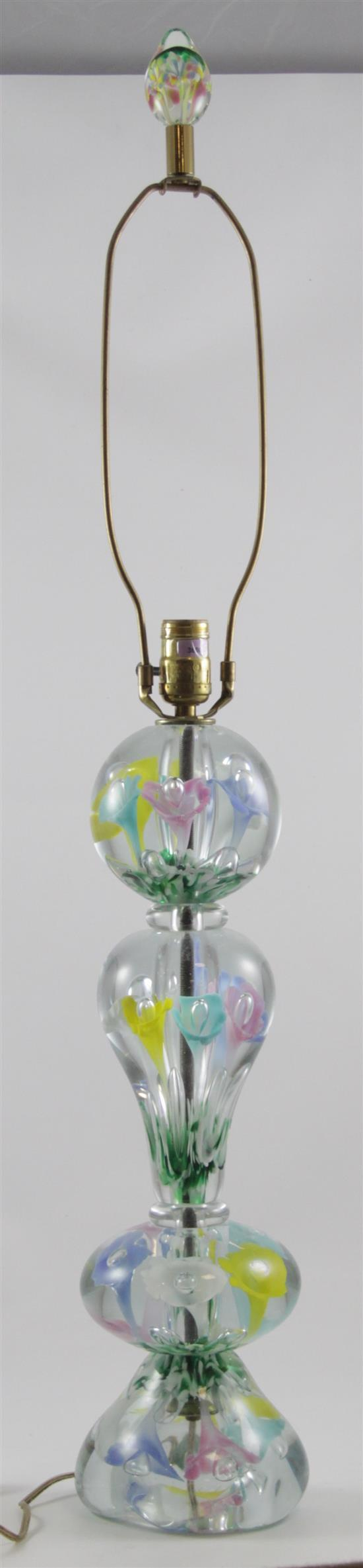 GIBSON TABLE LAMP WITH MULTI-COLORED TRUMPET FLOWERS, 38.5