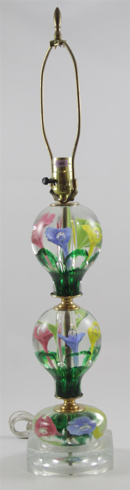 UNMARKED TABLE LAMP WITH MULTI-COLOR TRUMPET FLOWERS, 29.25