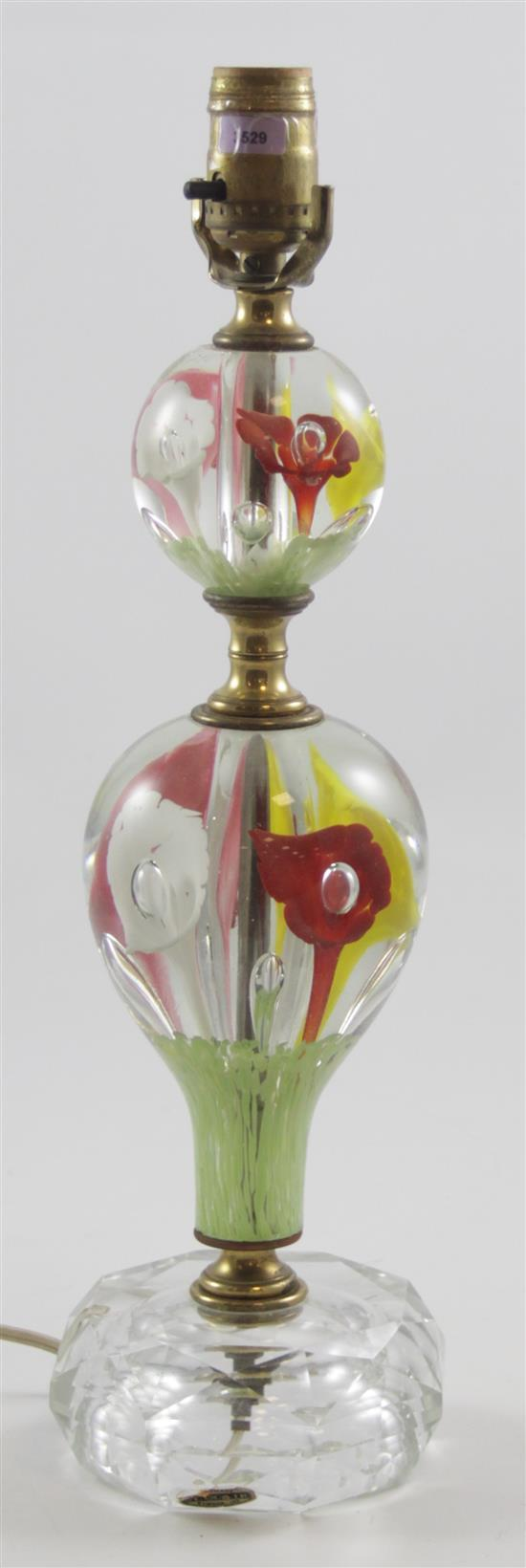 ST CLAIR GLASS TABLE LAMP WITH MULTI-COLOR TRUMPET FLOWERS, 17.5