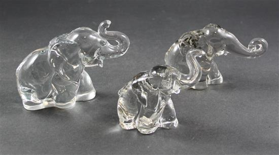 3 HEISEY ELEPHANTS - LARGE, MIDDLE, SMALL