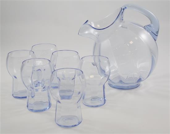 6 PIECE CAMBRIDGE MOONLIGHT BLUE WATER SET, BALL PITCHER AND 5 TUMBLERS