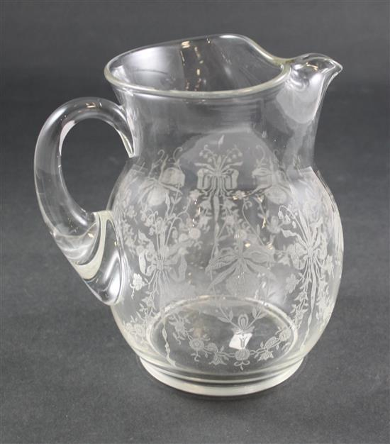 HEISEY GALLAGHER 72 OZ ICE LIP JUG WITH ORCHID ETCH