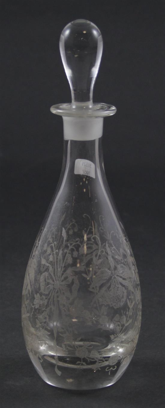 HEISEY MARSHALL 1 PT DECANTER AND STOPPER WITH ORCHID ETCH