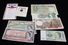 MIXED LOT INCLUDING FOREIGN CURRENCY NOTES AND LINCOLN MEMORIAL CENTS